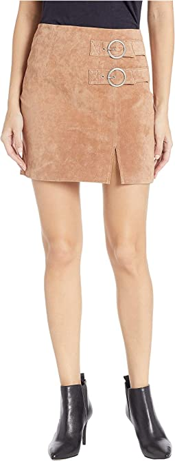 Suede Skirt with Double Buckle in Hazelnut