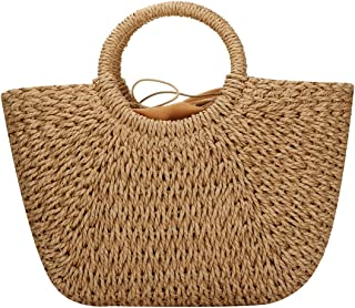Straw Bags for Women,Hand-woven Straw Large Hobo Bag Round Handle Ring Tote Retro Summer Beach Rattan bag