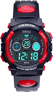 Kids Digital Watch Boys Girls,50M(5ATM) Waterproof 7 Color LED Multifunctional Sports Outdoor Wrist Watches with Alarm for Children Ages 7-15
