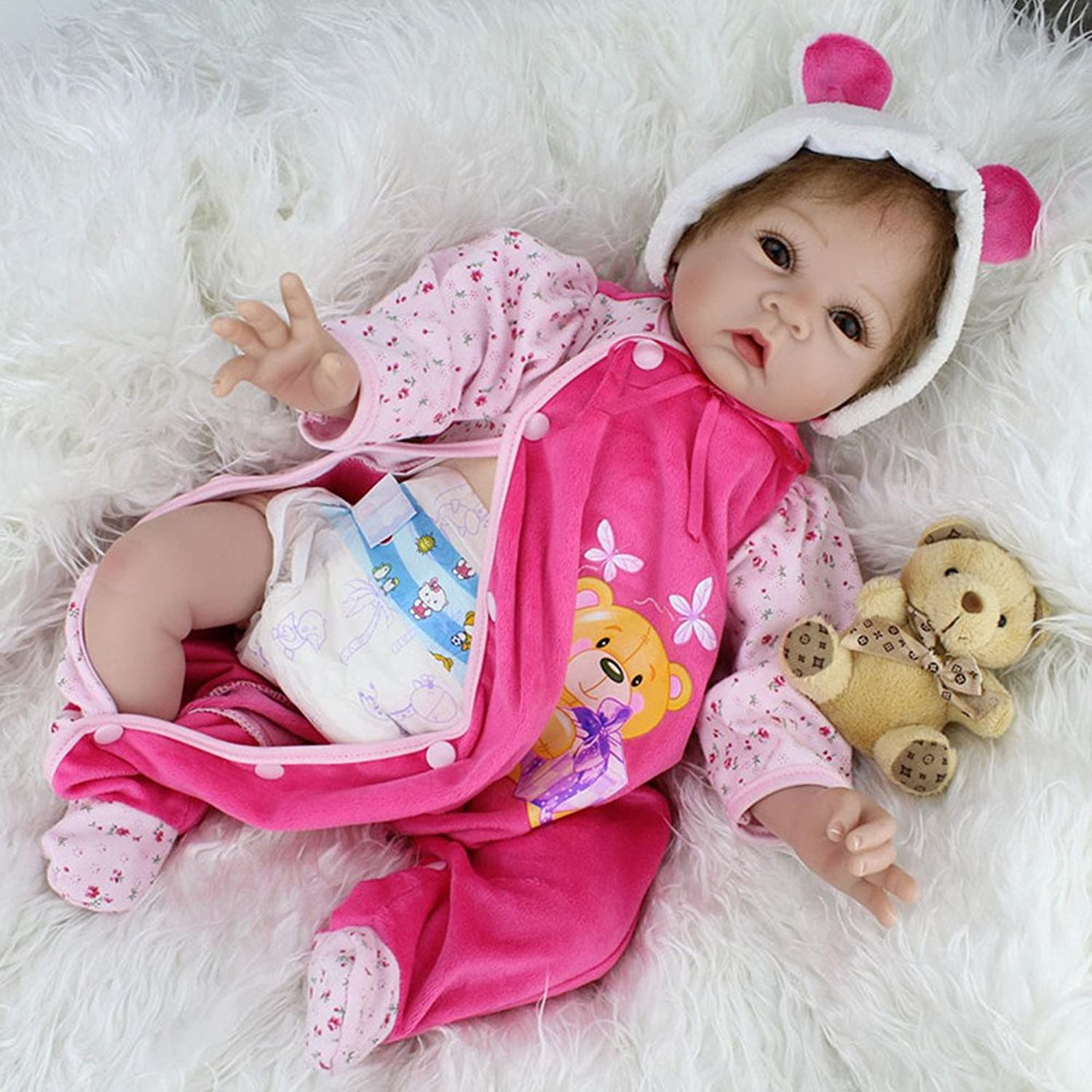 OtadDolls 22inch babies reborn dolls girl silicone baby real newborn toddlers Kids magnetic toy eyes open Lifelike