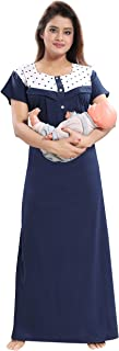 Fabme Women's Hosiery Cotton, Nursing, Feeding, Maternity Nighty - Zip Opening at Bust - Before and After Baby Multipurpos...