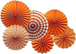 Party Hanging Paper Fans Set, Orange Round Pattern Paper Garlands Decoration for Birthday Wedding Graduation Events Accessories, Set of 6