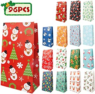 96pcs Christmas Holiday Goody Bags, 16 Assorted Christmas Designs Goodie Bags for Classrooms, Party Favors, Small Gift Bags, Kraft Holiday Gift Bags and Christmas Craft Bags