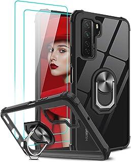 LeYi för Huawei P40 Lite 5G fodral och 2 härdat glas skärmskydd, kristallklar ringhållare militärklassad skyddande stöttål...