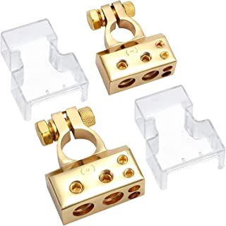 Justech 1Pair 4/8 Gauge AWG Car Battery Terminal Connectors Car Positive & Negative Battery Terminal Clamp Replacement Easy Installation with Transparent Cover for Car Auto Caravan Marine Boat-Gold