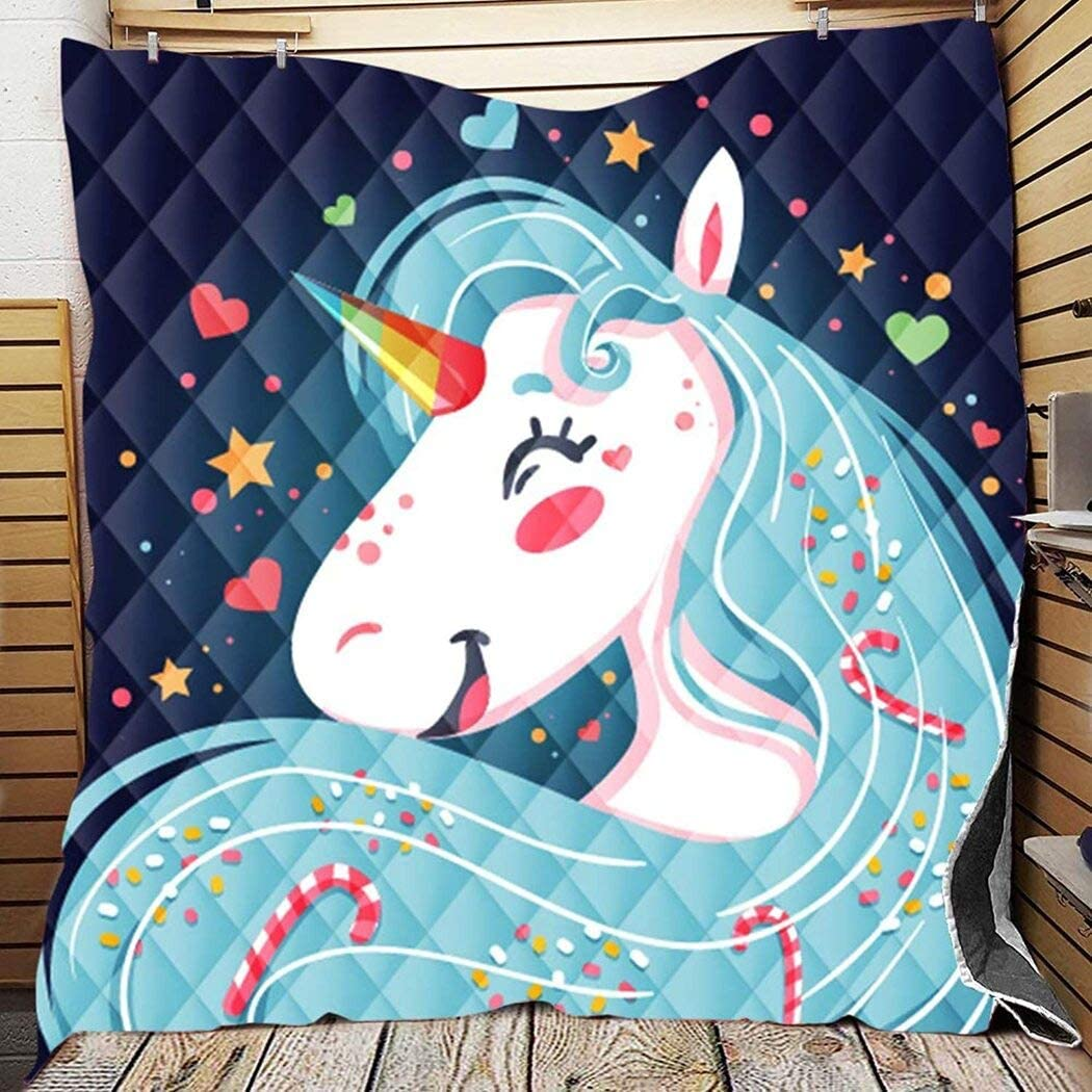 Personalized Super Special SALE held Animal Unicorn Smile Quilt Lovers for Your Excellence Qu Gift