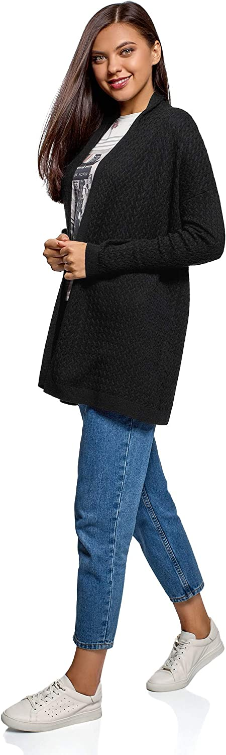 oodji Collection Women's No Closure Cable Knit Cardigan