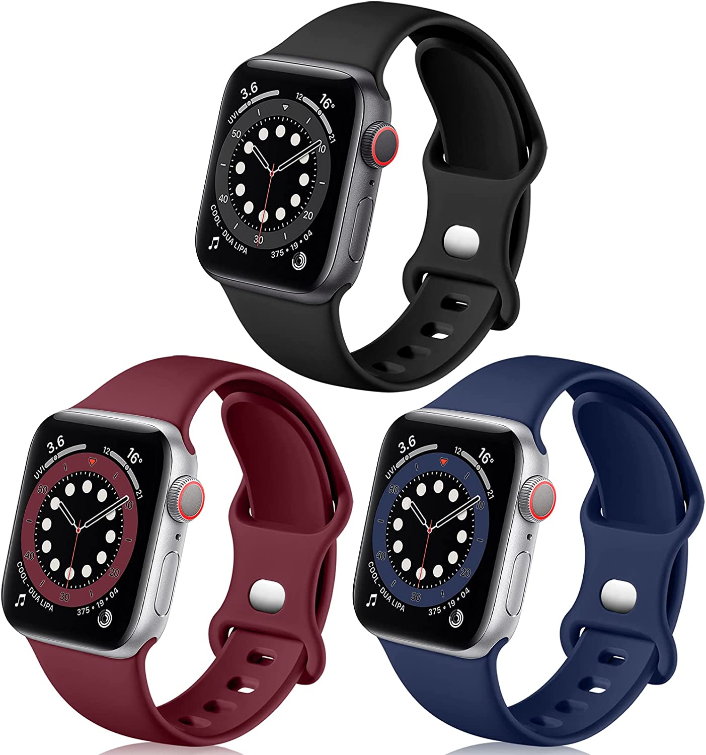 Easuny Sport Bands Compatible with Apple Watch 38m 40mm 42mm 44mm Women Men- Soft Sport Silicone Wristbands Strap Replacement Accessories for iWatch Series 6/5/4/3/2/1,3 Pack S/M M/L