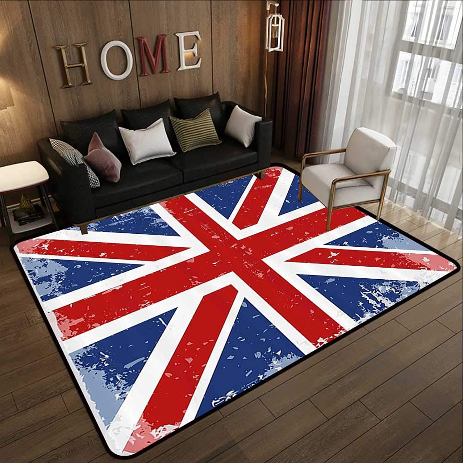 All Weather Floor mats,British,Abstract England London Flag Old Vintage Like Print with Shadow Print,Red Navy bluee and White 55 x 63  Multi-USE Floor MAT