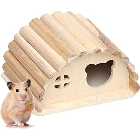 PetNest Wooden Log Hideout House for Small Animals Hide House/Hammock for Hamster/Dwarf/Mice/Gerbil/Chinchilla/Hedgehog Cage Toy Chew Toy Hamster Hideout Toys - HH3