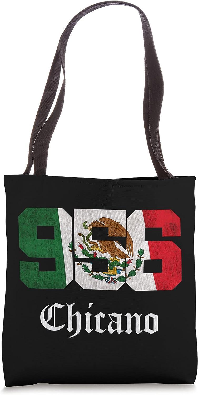 Mens Mexican Flag Chicano Apparel Texas 956 Area Code Tote Bag