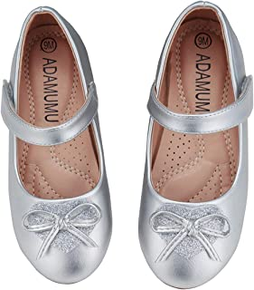 Girls' Dress Shoes Ballet Mary Jane Flat Glitter Shoes for Toddler Little Kids Princess Wedding Party