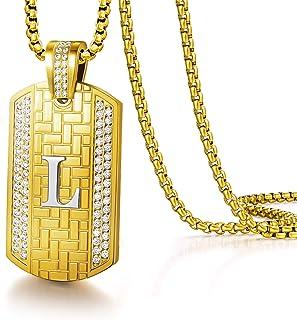 Louisa Secret - Collana da uomo, con ciondolo a forma di lettera A-Z, gioiello da uomo, stile hip hop, 55 + 5 cm, regolabi...