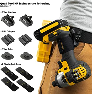 Spider Tool Holster - QUAD TOOL KIT - 10 Piece Set for Carrying Tools and Organizing Drill Bits