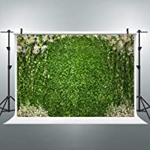 Riyidecor Green Lawn Wall Backdrop Nature Grass Photography Background Fresh Green and White Flowers 7Wx5H Feet Decoration Celebration Props Party Photo Shoot Backdrop Vinyl Cloth