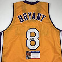 Autographed/Signed Kobe Bryant #8 Los Angeles Yellow Basketball Jersey PSA/DNA COA