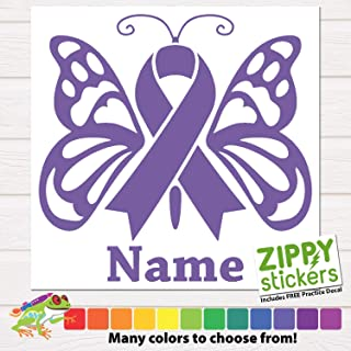 Custom Cancer Memorial - Memoriam Butterfly Ribbon Vinyl Decal Sticker with Name, Cancer Ribbon Decal In Memory of Butterfly personalized for Car Windows, Yeti Rtic Tumblers, Laptops. Color Size Name