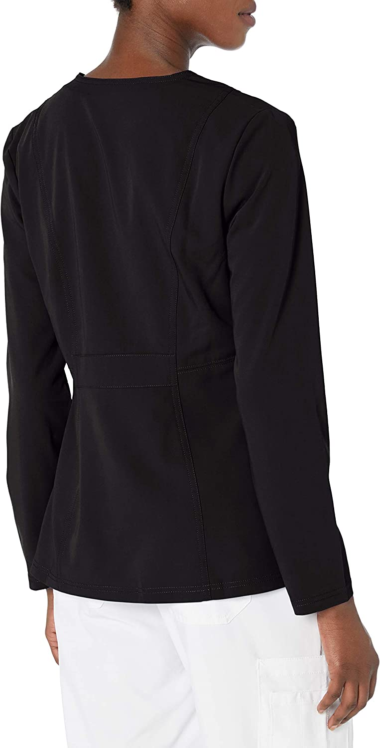 Dickies Women's Xtreme Stretch Crew Neck Snap Front Warm-up Jacket: Clothing, Shoes & Jewelry