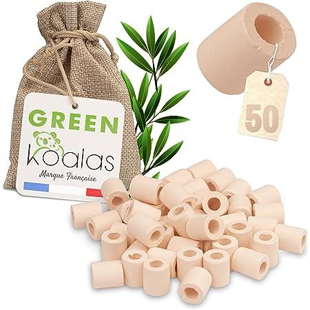 Green Koalas 50 Perles de CERAMIQUE EM Roses Naturelles pour Purifier filtrer l'Eau. Billes de céramique en Argile (Tube) pour Purification Bio Filtre Anti calcaire et Chlore Carafe Fontaine à Eau