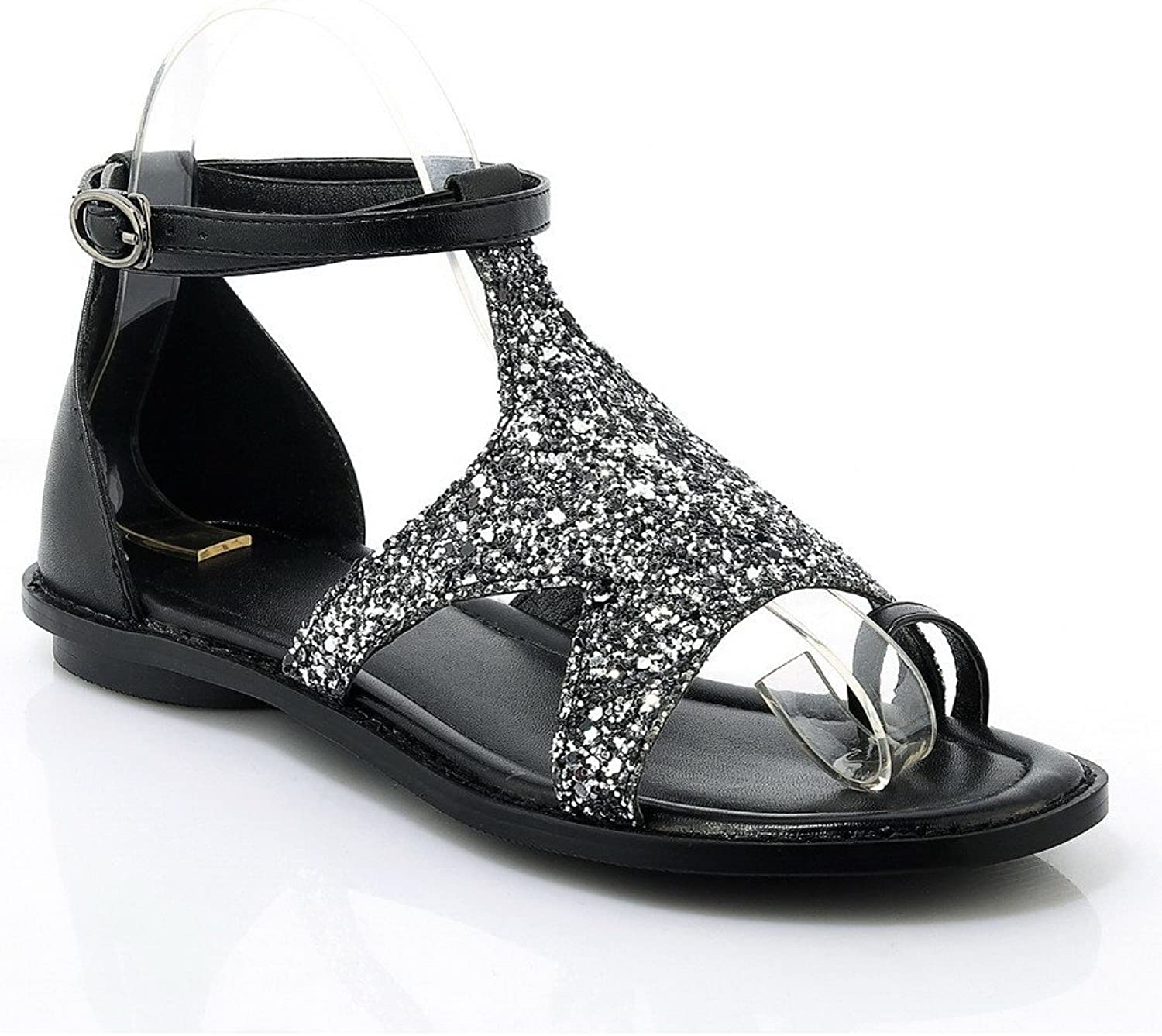 AmoonyFashion Women's No-Heel Soft Material Assorted colors Buckle Open Toe Sandals