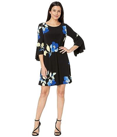 LAUREN Ralph Lauren Casa Loma Matte Jersey Tycenda Dress (Black/Sky Blue/Multi) Women