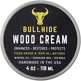 Bullhide - Wood Cream - Natural Wood Cream for All Non-Varnished Natural Wood Oil - Wood Counters, Butcher Blocks, Wood Furniture, Wood Floors, Patio Furniture and More - Made in USA