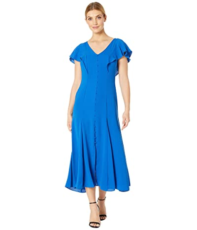 Tahari by ASL Pebble Crepe Flutter Sleeve Maxi Dress (Summer Royal) Women