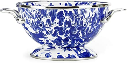 Golden Rabbit Enamelware - Cobalt Blue Swirl Pattern - Petite Colander
