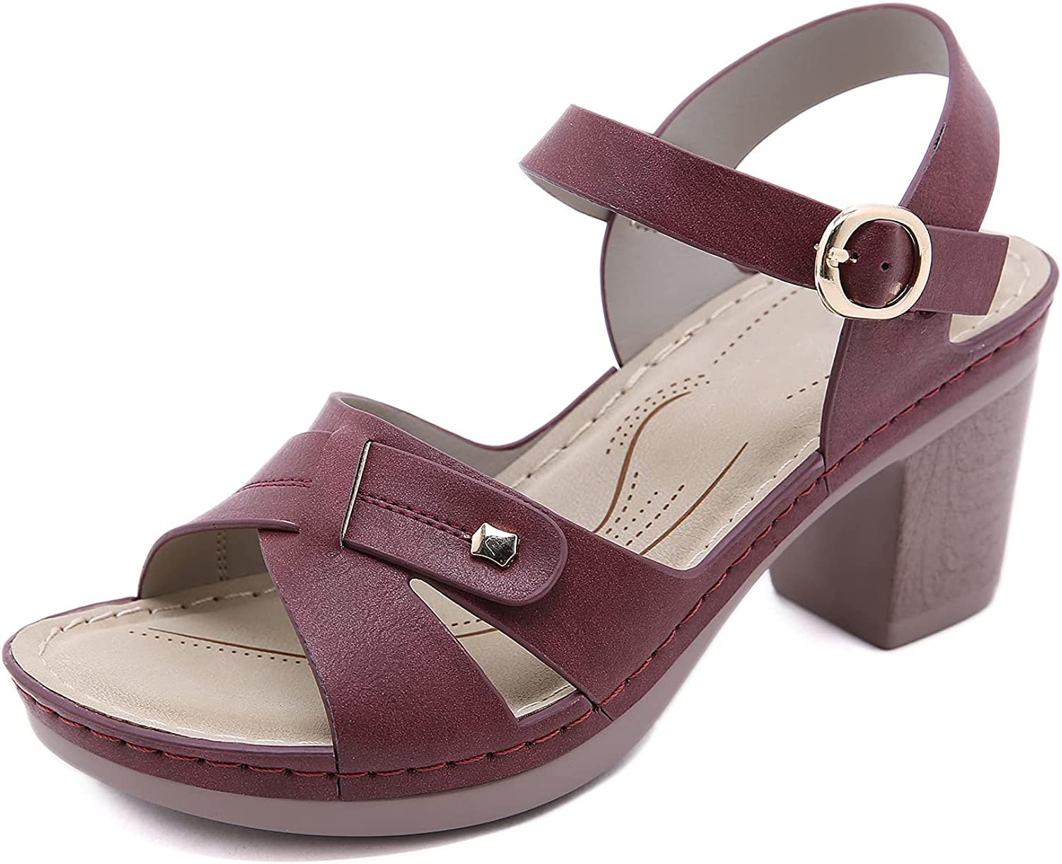 SHIBEVER Women Nippon regular agency Sandals Selling and selling Open Toe Strap Heel Chunky Ankle
