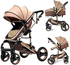Infant Stroller Luxury Newborn Baby Foldable Anti-shock High View Carriage Baby Pushchair (golden)