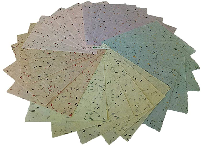 NAVA CHIANGMAI Thin Standard Color of Mulberry Paper Sheets Paper Decorative DIY Craft Scrapbook Wedding Decorative Mulberry Paper Art Tissue Japan (Mixed Dyed Husk Paper)