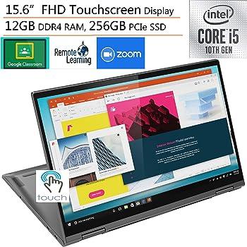 "2020 Lenovo Yoga C740 2-in-1 15.6"" FHD Touchscreen Laptop Computer, Intel Quad-Core i5-10210U (Beats i7-7500U), 12GB DDR4 RAM, 256GB PCIe SSD, Windows 10, iPuzzle External DVD, Online Class Ready"