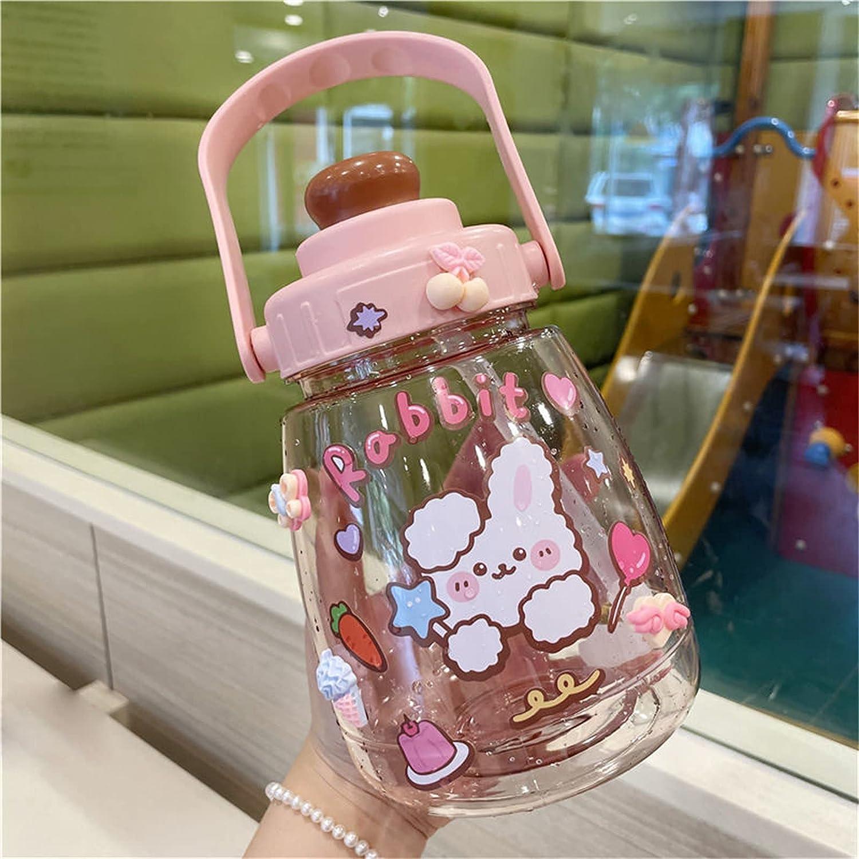 Botella de agua grande Kawaii de 1370 ml con pajita y pegatina Botella de agua grande para mujer (Rosa 1300ml)