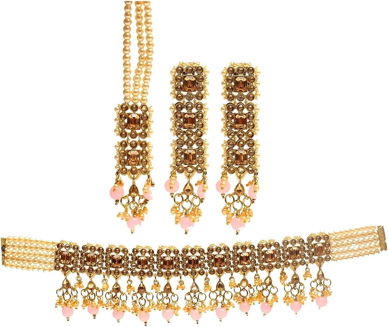 Glamorous price Collection Pink Choker Kundan Indian Max 90% OFF Jewe Necklace Set