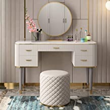 JSZMD Dressing Table Modern Luxury Classic American Marble, Bedroom Furniture 100 cm (Marble Countertop) + Stool + Mirror