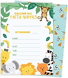 Zoo 3 Animals Happy Birthday Invitations Invite Cards (25 Count) With Envelopes and Seal Stickers Vinyl Girls Boys Kids Party (25ct)