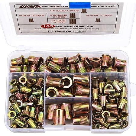 SG TZH 80Pcs Stainless Steel Rivet Set #8-32UNC #10-24UNC 1//4-20UNC 5//16-18UNC 3//8-16UNC Flat Head Rivnut Assortment Threaded Insert Nuts Kit