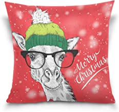 "MASSIKOA Christmas Card with Giraffe in Winter Hat Decorative Throw Pillow Case Square Cushion Cover 18"" x 18"" for Couch, ..."