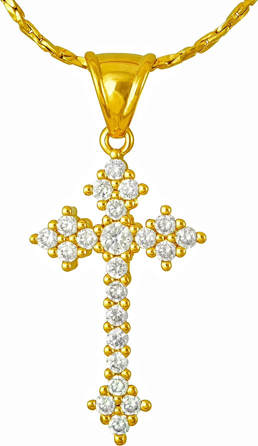 Lifetime In a popularity Jewelry 22 CZ Stones Cross for Girls and Women Necklace online shopping