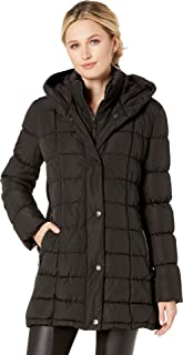 Women's Traditional Puffer Jacket with Bib Insert and Knit Panel Sides