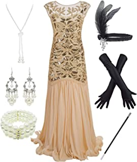 Letter Love Women 1920S Gatsby Sequin Mermaid Formal Evening Dress with 20s Accessories Costume