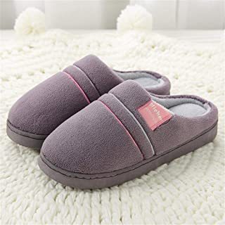 Men's Plus Size Winter Plush Cotton Slippers,Warm Plush Slipper Indoor Anti-Slip Shoes for Women Men,Purple,38/39