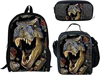 INSTANTARTS T-rex Dinosaur School Backpack Lunch Bag Set Pencil Case Bookbag Set