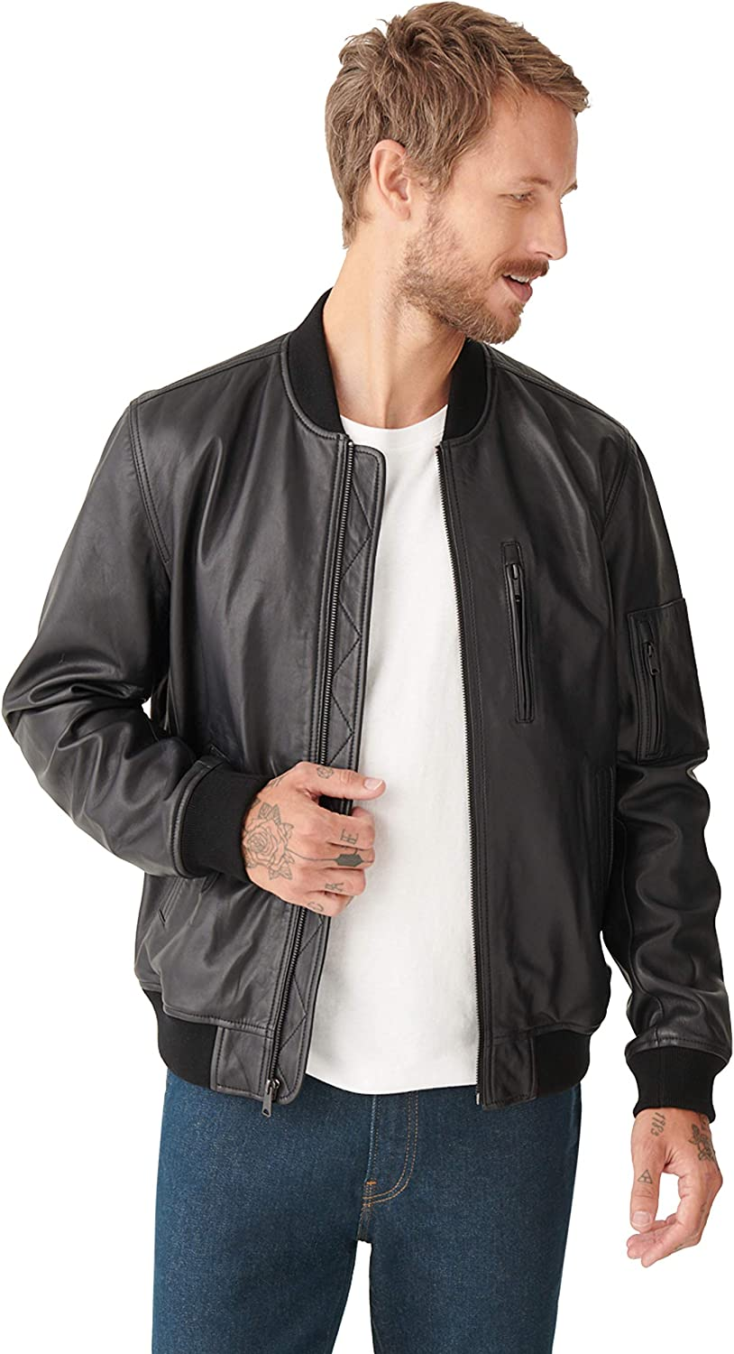 Lucky Brand Men's Long Sleeve Zip Front Leather Bomber Jacket