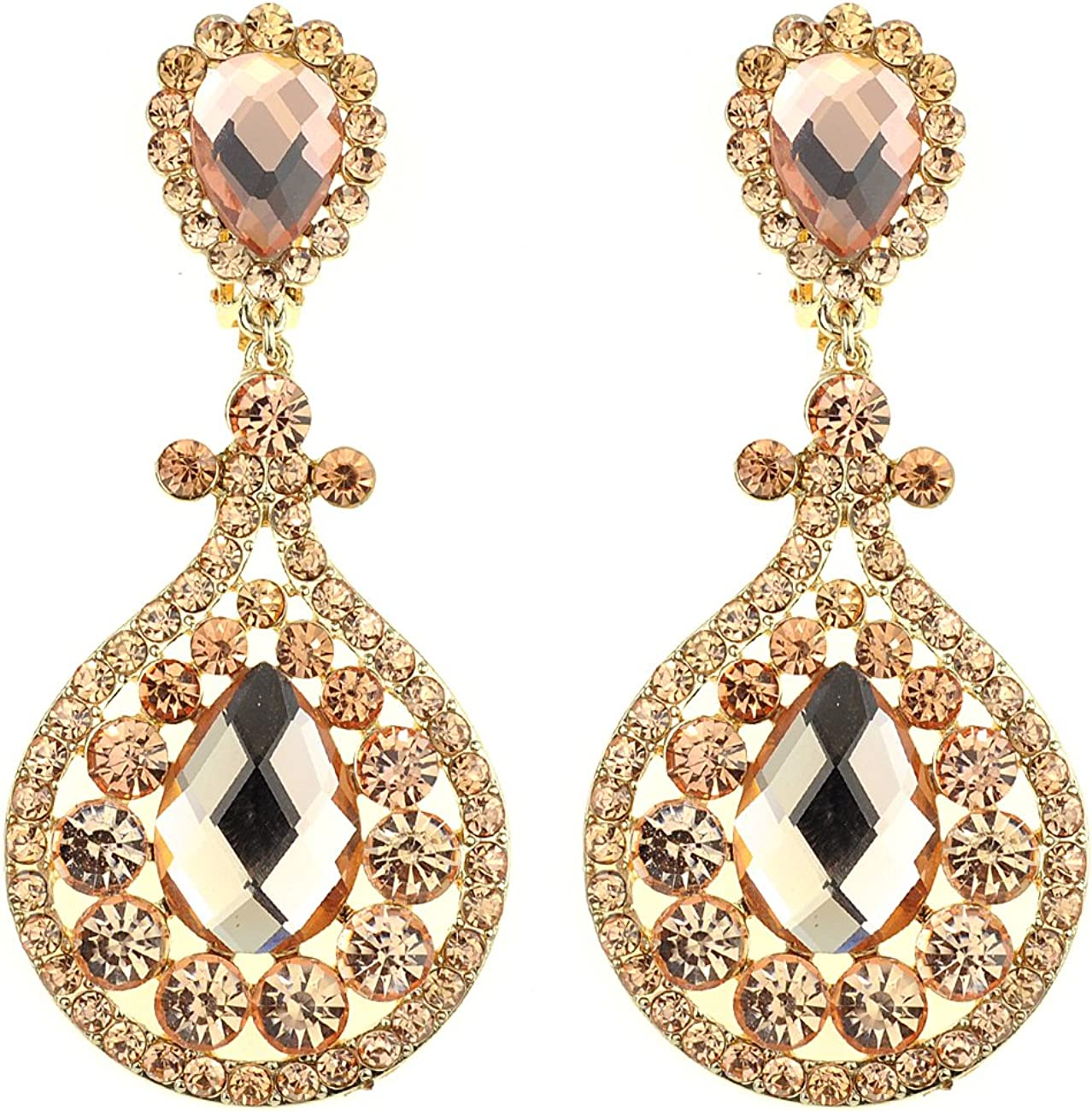 Women's Evening Gala Bridal Prom Wedding Clip On Earrings - Imperial
