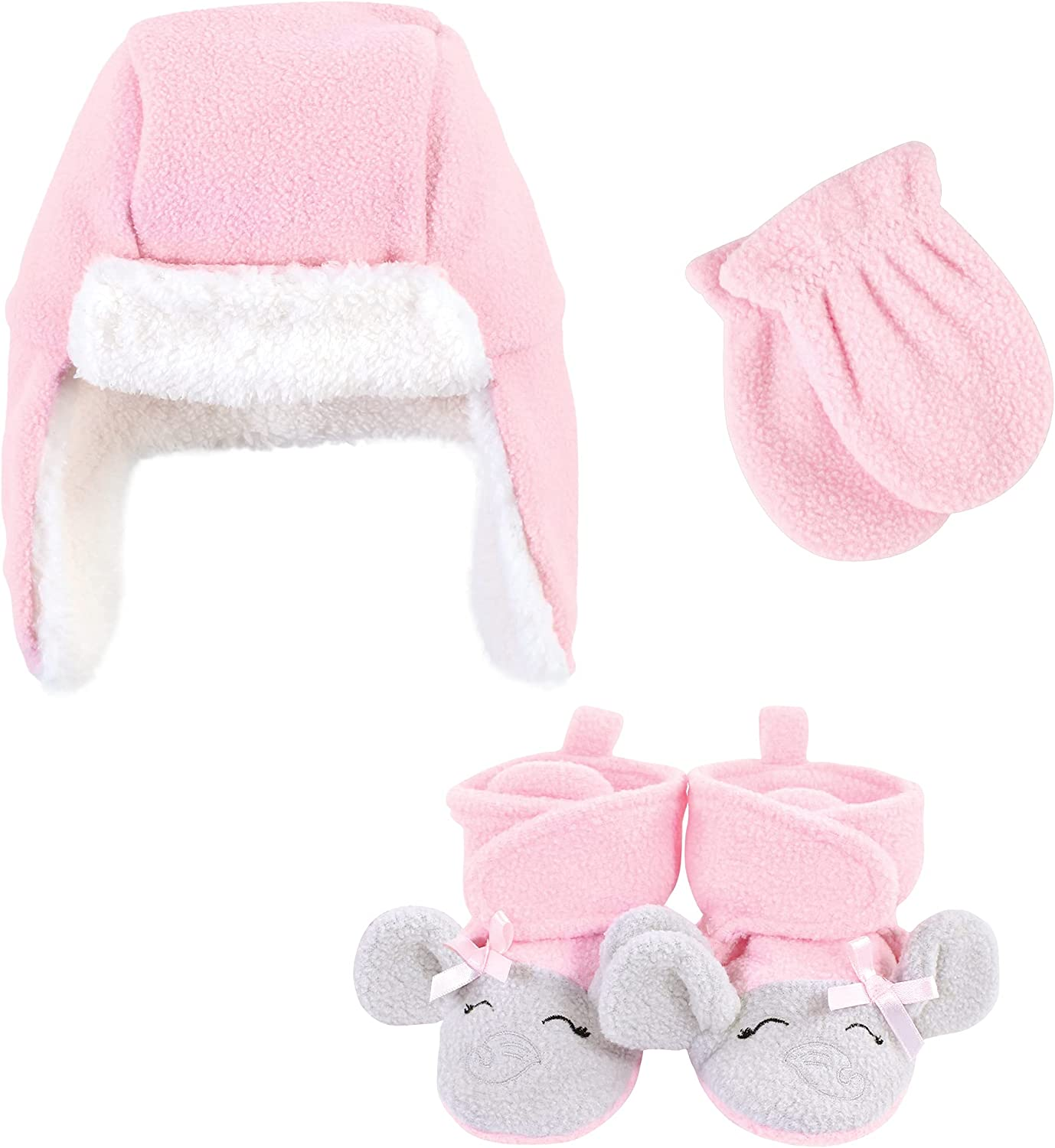 Hudson Baby Unisex Baby Trapper Hat, Mitten and Bootie Set, Pink Gray Elephant, 6-12 Months