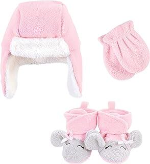 Hudson Baby Unisex czapka łapacz dziecka, zestaw rękawiczek i botków, różowy szary słoń, 6-12 miesięcy