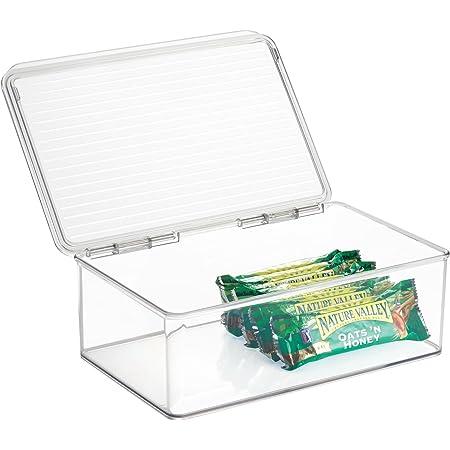 InterDesign Cabinet/Kitchen Binz box rangement, très grande boite conservation empilable plastique, organisateur cuisine avec couvercle, transparent