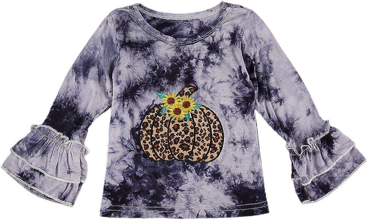 Toddler Baby Girls Halloween Clothes Tie Dye Pumpkin Ruffle Tops Long Sleeve T-Shirts Tee