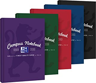 Oxford Campus 400133489 B5 Notebook 80 Sheets Squared Pack of 5 Assorted Colours